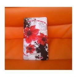 Silikon etui za Sony Xperia E,E Dual,bela barva,motiv rdeči cvetovi+folija ekrana