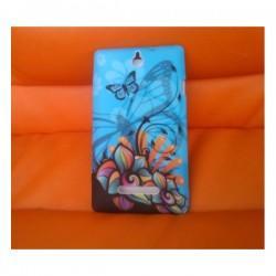 Silikon etui za Sony Xperia E,E Dual,modra barva,motiv cvetovi z metulji+folija ekrana