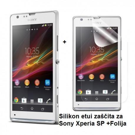 Silikon etui za Sony Xperia SP,prozorna mat bela barva+folija ekrana,Jekod