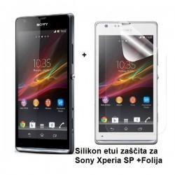 Silikon etui za Sony Xperia SP,prozorna siva barva+folija ekrana,Jekod