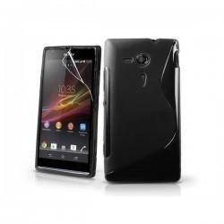 Silikon etui za Sony Xperia SP,črna barva,motiv S+folija ekrana