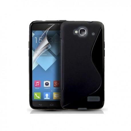 Silikon etui za Alcatel One Touch Idol Mini +Folija ekrana Črna barva