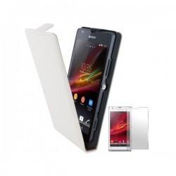 Torbica za Sony Xperia SP,preklopna,bela barva+folija ekrana