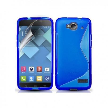 Silikon etui za Alcatel One Touch Idol Mini +Folija ekrana Modra barva