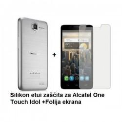 Silikon etui za Alcatel One Touch Idol +Folija ekrana, transparent bela