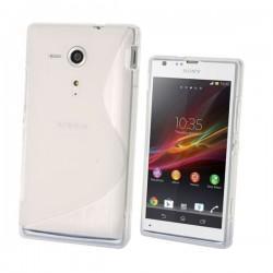 Silikon etui za Sony Xperia SP,prozorna mat bela barva,motiv S