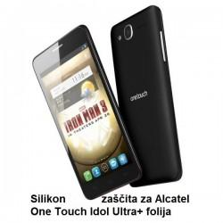 Silikon Etui za Alcatel One Touch Idol Ultra+ folija ,Črna barva