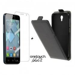 Preklopna Torbica za Alcatel One Touch Idol 2 + Zaščitna folija ekrana ,Črna barva