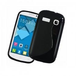 Silikon Etui za Alcatel One Touch Pop C3+ folija ekrana ,Črna barva