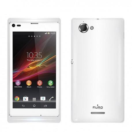 Silikon Etui za Sony Xperia L,prozorna mat bela barva,Puro