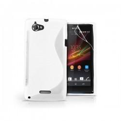 Silikon etui za Sony Xperia L,prozorna mat bela barva,motiv S+folija ekrana