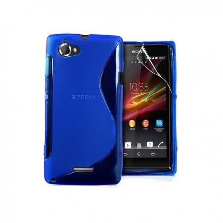 Silikon etui za Sony Xperia L,modra barva,motiv S+folija ekrana