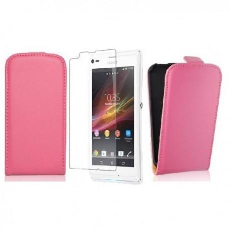 Torbica za Sony Xperia L,preklopna,pink barva+folija ekrana