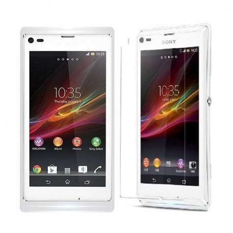 Silikon etui za Sony Xperia L,prozorna mat bela barva+folija ekrana,Jekod