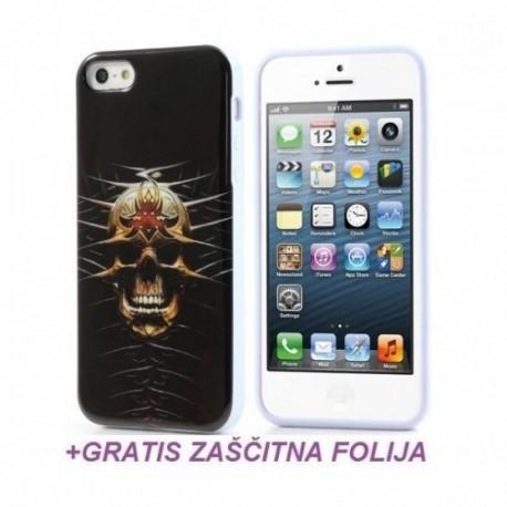 Silikon etui za Apple iPhone 5,5S+Folija Gratis , Skull