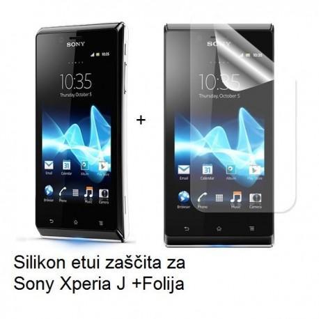 Silikon etui za Sony Xperia J,prozorna mat bela barva+folija ekrana,Jekod