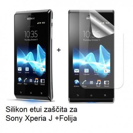 Silikon etui za Sony Xperia J,prozorna siva barva+folija ekrana,Jekod