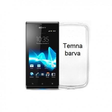 Silikon etui za Sony Xperia J,prozorna siva barva