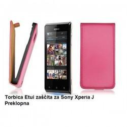 Torbica za Sony Xperia J,preklopna,pink barva