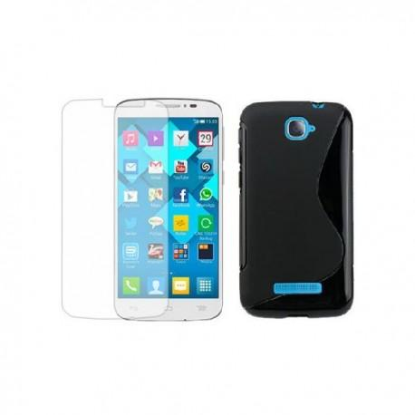 Silikon Etui za Alcatel One Touch Pop C7+ folija ekrana ,Črna barva