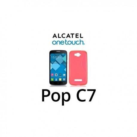 Silikon Etui za Alcatel One Touch Pop C7+ folija ekrana ,Rdeča barva