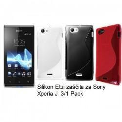 Silikon etui za Sony Xperia J,paket 3 v 1