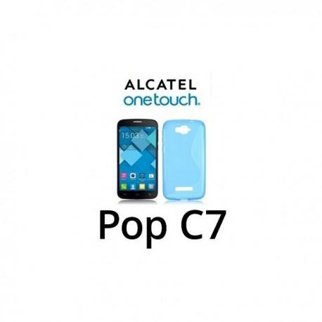 Silikon Etui za Alcatel One Touch Pop C7+ folija ekrana ,Modra barva