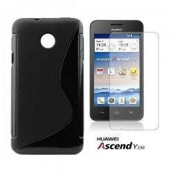 Silikon etui za Huawei Ascend Y330 +Folija ekrana Črna barva