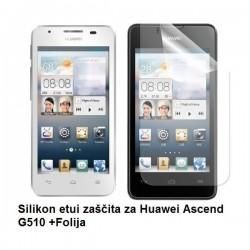 Silikon etui za Huawei Ascend G510 +Folija, Bela mat barva
