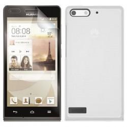 Silikon etui za Huawei Ascend G6 Bela mat barva+folija ekrana
