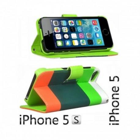 Etui za Apple iPhone 5, 5S Preklopna- Barvna (bela,zelena,oranžna)