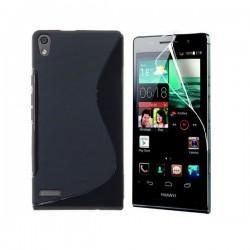 Silikon etui za Huawei Ascend P6 +Folija ekrana ,Črna barva