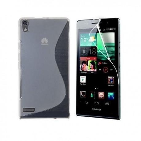 Silikon etui za Huawei Ascend P6 +Folija ekrana ,Transparent barva