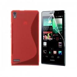 Silikon etui za Huawei Ascend P6 +Folija ekrana ,Rdeča barva