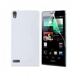 Silikon etui za Huawei Ascend P6 +Folija ekrana ,Bela barva