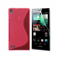Silikon etui za Huawei Ascend P6 +Folija ekrana ,Pink barva