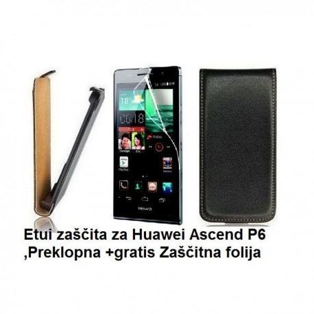 Torbica za Huawei Ascend P6 ,Preklopna +gratis Zaščitna folija ekrana