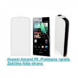 Torbica za Huawei Ascend P6 ,Preklopna +gratis Zaščitna folija ekrana, Bela barva