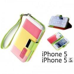 Etui za Apple iPhone 5, 5S Preklopna- Barvna (bela, rumena, pink)