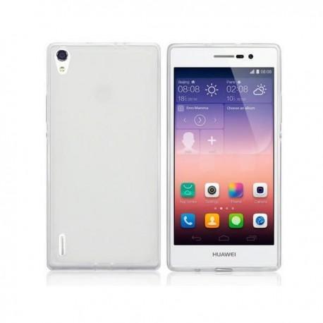 Silikon etui za Huawei Ascend P7 Bela mat barva+folija ekrana