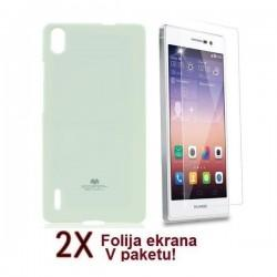 Silikon etui za Huawei Ascend P7 + 2x Folija High-Quality ,Bela barva