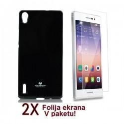Silikon etui za Huawei Ascend P7 + 2x Folija High-Quality ,Črna barva