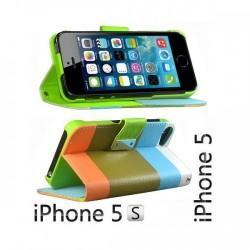Etui za Apple iPhone 5, 5S Preklopna- Barvna (bela, modra, oranžna)