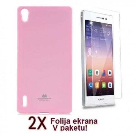 Silikon etui za Huawei Ascend P7 + 2x Folija High-Quality ,Light Pink barva