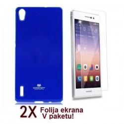 Silikon etui za Huawei Ascend P7 + 2x Folija High-Quality ,Modra barva