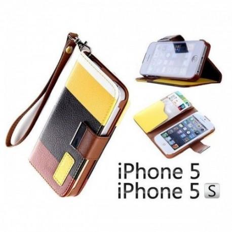 Etui za Apple iPhone 5, 5S Preklopna- Barvna (rumena, črna, rjava)