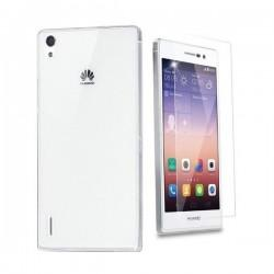 Silikon etui za Huawei Ascend P7 +Folija ekrana TPU 0,3mm Transparent barva