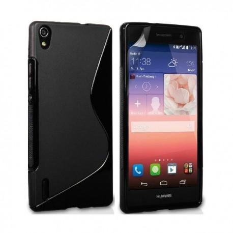Silikon etui za Huawei Ascend P7 +Folija ekrana ,Črna barva