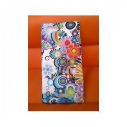 Silikon etui za Sony Xperia J,bela barva,motiv barvno cvetje+folija ekrana