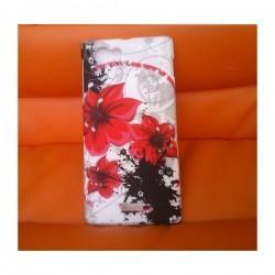 Silikon etui za Sony Xperia J,bela barva,motiv rdeči cvetovi+folija ekrana